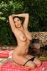 Hot busty sweet babe Jelena Jensen posing naked outdoors from DDF Busty