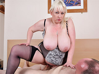 Jo Juggs getting her udders fucked then riding on large cock from Busty Britain