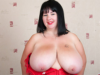 Meow 34JJ boobs fun then fucks her juggs and cunt with dildo from Busty Britain