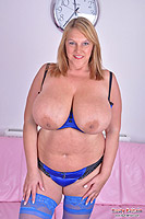 Carol Brown sucking her udders and nipples then showing pink from Busty Britain