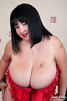 Meow 34JJ fucking her giant boobs and pussy with a big dildo from Busty Britain