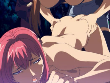 Dominant hentai shemale forces a busty slut to gag on her cock from Futafan