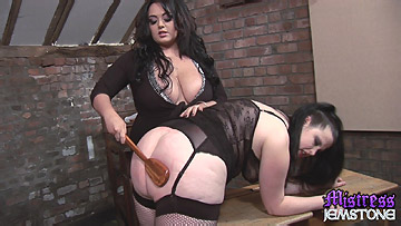 Mistress Jemstone gives poor Emma Seleste nasty cunt kicking from Mistress Jemstone