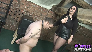 Mistress Jemstone whips laughing sub Ady and kicks his balls from Mistress Jemstone