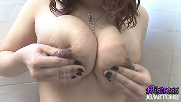 Mistress Jemstone forces Candy to milk her lactating boobies from Mistress Jemstone