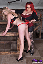 Mistress Jemstone spanks busty Sapphire and fingers her cunt from Mistress Jemstone