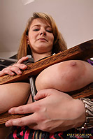 Jane Black shows her melons and gets them squashed in a vice from OnlyBigMelons