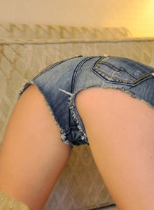 Hailey shows off in some really short jean shorts from Hailey's Hideaway