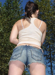Hailey shows off her tight round ass in tiny jean shorts from Hailey's Hideaway