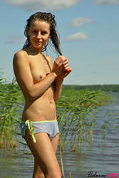 Fedorov-hd-Vika-lake-wet-slim-teen-blue-bikini-outdoor-beach from Fedorovhd