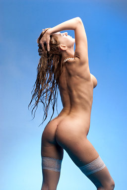 Against a refreshing cool background, Gisele's smothering beauty from Erotic Beauty