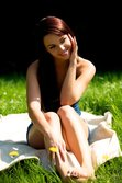 Pretty brunette poses nude in the park! from Met-Art